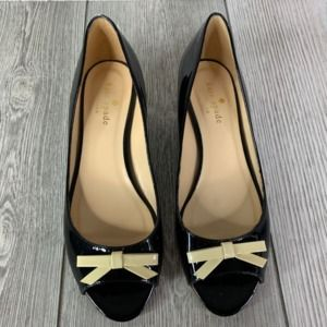 Kate Spade Tracey Patent Peep Toe Wedge Size 6